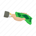 business, cartoon, currency, dollar, finance, hand, money icon