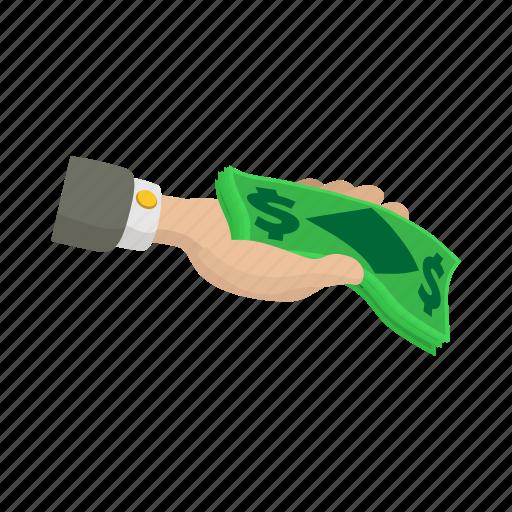business, cartoon, currency, dollar, finance, hand, money icon