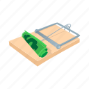 business, cartoon, currency, dollar, finance, mousetrap, risk icon