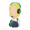 bank, cartoon, consultant, green, headphone, headset, support icon