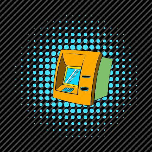 bank, banking, blog, cash, comics, machine, site icon