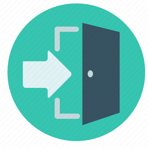 arrow, close, door, exit, go, interface, out icon