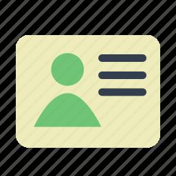 certificate, data, document, id, passport, user icon