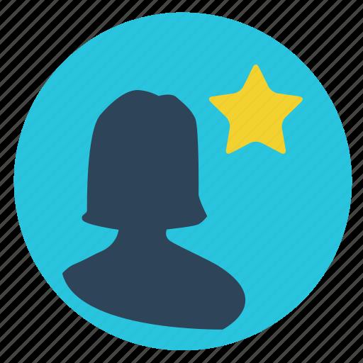 favorite, female, girl, interface, star, user, women icon