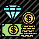 cash, coin, diamond, dollar, money