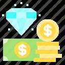 cash, coin, diamond, dollar, money icon