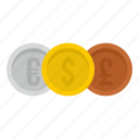 banking, cash, coins, currency, dollar, euro, pound icon