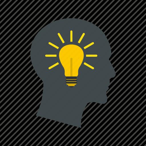 concept, head, idea, illumination, innovation, inspiration, lamp icon