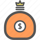 bank, business, cash, dollar, financial, money, sack icon