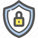 lock, password, protection, refusal, rejection, security, shield icon