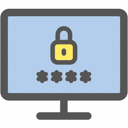 computer, internet, lock, log in, monitor, password, security icon