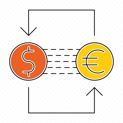 banking, coins, currency, dollar, euro, exchange icon