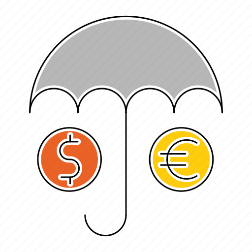 currency, insurance, money, save, umbrella icon