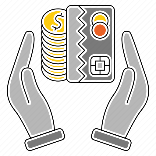 banking, card, finance, hands, money, saving icon