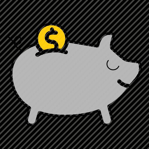 bank, banking, cash, money, piggy, save icon