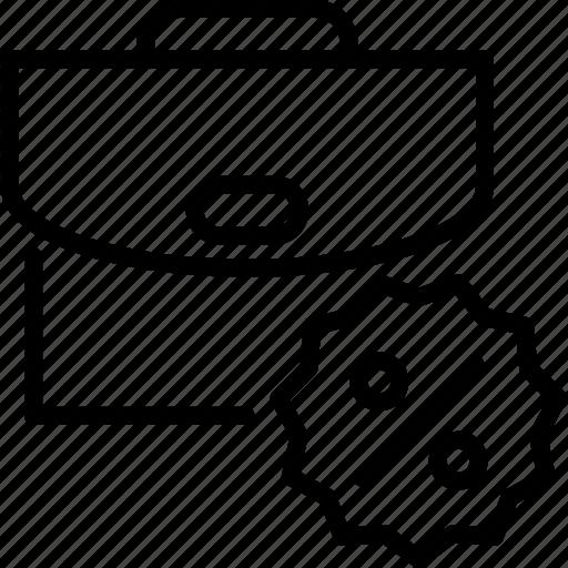 briefcase, case, discount, percent, suitcase icon