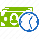 cash, clock, credit, money, payment, reccurent, time icon