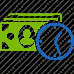 cash, clock, credit, money, payment, reccurent, time icon