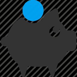 banking, debit, deposit, money container, pig, piggy bank, savings icon