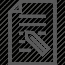 document, memo, paper, pen, pencil icon