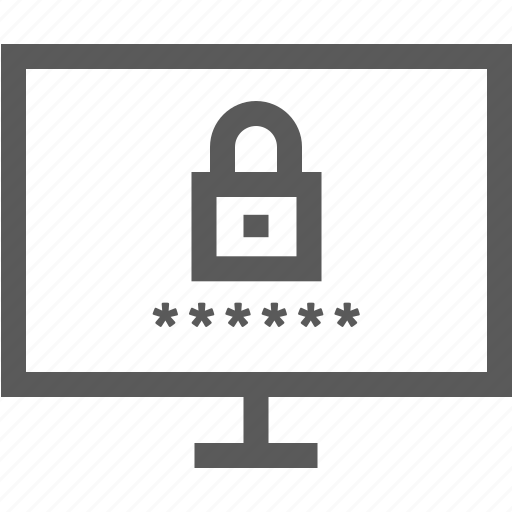 computer, internet, lock, log in, monitor, password icon