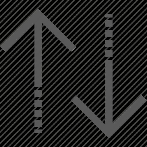 arrow, bank, down, drop, rise, upturn icon