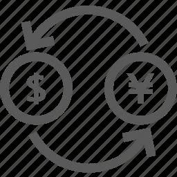 bank, coin, dollar, exchange, financial, money, yen icon