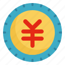 business, coin, finance, money, yen icon