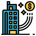 brokerage, building, business, money, tower icon