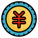business, coin, finance, money, yen icon