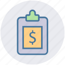 board, checklist, clipboard, dollar, file, list, paper