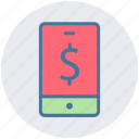 dollar, mobile, mobile phone, online marketing, online shopping, phone, smartphone icon
