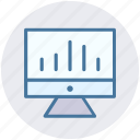 analytics, business, chart, computer, improving, monitoring, statistics icon