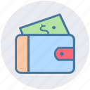 dollar, money wallet, open violet, violet, wallet icon