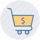 basket, cart, dollar, finance, shopping, shopping cart icon