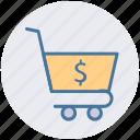 basket, cart, dollar, finance, shopping, shopping cart