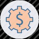 cog, dollar, gear, money, online, setup, work
