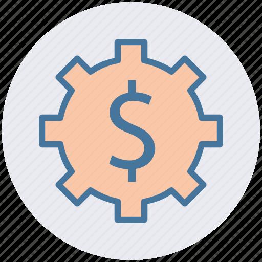 cog, dollar, gear, money, online, setup, work icon