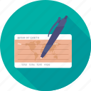 cheque, pen, receipt, signing, voucher icon