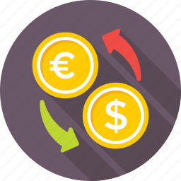 currency, currency exchange, dollar, euro, foreign exchange icon