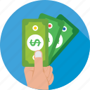 dollar, give money, hand, money, payment icon