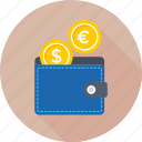 billfold wallet, coins, money wallet, purse, wallet icon