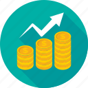 coins, growth, investment, profit, progress icon