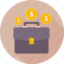 bag, briefcase, case, currency, money bag icon