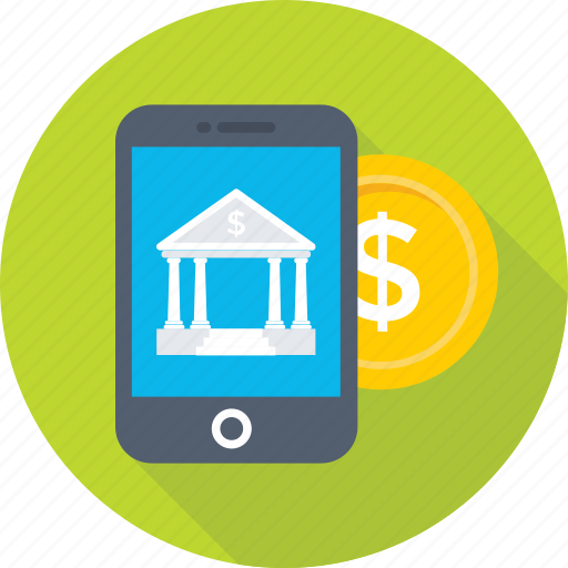 banking, banking app, building, cell phone, dollar icon