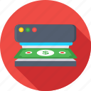 banking, banknote, counting machine, currency sorter icon