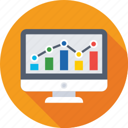 diagram, infographics, monitor, online graphs icon