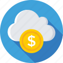 dollar, icloud, online business, online money, web business icon