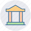 bank, building, columns, court, finance, finance and business, school icon