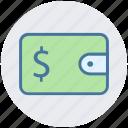 cash, coins, dollar, dollar sign, money, money wallet, wallet icon